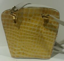 VALENTINO ORLANDI Italian DESIGNER Gold Ivory Croc  LEATHER Shoulder BAG