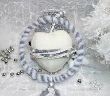Winterherz Herz Wanddeko Perlen Fensterdeko Türdekoration wie Türkranz Spitze