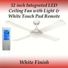 52 inch 4 Blade White LED Ceiling Fan with 24 Watt Light and White Touch Remote