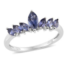CATALINA GENUINE IOLITE MARQUISE CROWN STACKABLE STERLING SILVER RING SIZE 7