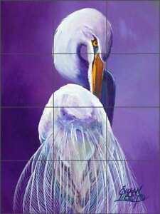 Egret Glass Tile Mural Susan Libby Wildlife Art Kitchen Shower Backsplash SLA010