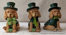 New Listing3 New St Patricks Day Irish Dog Figurines All Dressed In Top Hats With Shamrocks