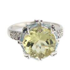HSN 8.45CT Lemon Quartz & Multigemstone Sterling Silver Round Ring Size 5