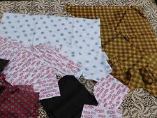 NEARLY 1 POUND VINTAGE FABRIC PIECES ALL SIZES COTTONS AND SILK FOR DOLL CLOTHES