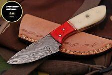 6 INCH NEW RM CUSTOM DAMASCUS STEEL FULL TANG HUNTER SKINNER KNIFE CAMEL BONE 52