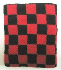 Unisex Black and Red Check Checkered Pattern Wristband Sweatband - Brand New