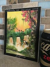 Tropical Rainforest Jungle Scene Ceramic Tile Wall Plaque From Argentina, Signed