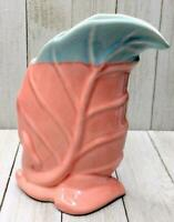 RARE Vintage Unsigned Anna Van Briggle Coral & Aqua Leaf Shaped Pottery Vase
