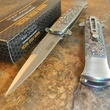 TAC FORCE Spring Assisted Titanium SKULL RAINBOW Folding Pocket Knife NEW!