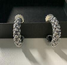 Lagos Caviar Sterling Silver Beaded Popcorn Style Hoop Earrings Medium