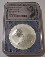 Australia 2019 P 1 oz Silver Dollar Moon Landing 50th Anniversary MS70 NGC