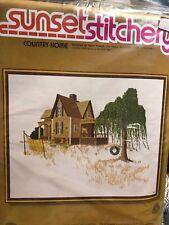 Sunset Stitchery Country Home Kit 2470 Design _Gwen Francis Wool Yarn 20x24 NEW