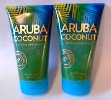 Aruba Coconut Glowing Body Scrub 8 oz Lot 2 Bath & Body Works Exfoliate Full