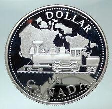 1981 CANADA w UK Queen Elizabeth II Railway Train Silver Dollar Coin i82406