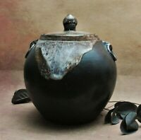 Studio Pottery..  lidded jar wabi sabi....John Wright