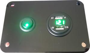 Single Switch Panel 12V GREEN USB Control Charging Unit Motorhome VW Campervan