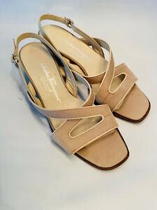 Salvatore Ferragamo Boutique Cream Open Toe Sling Back Kitten Heels Size 6.5B