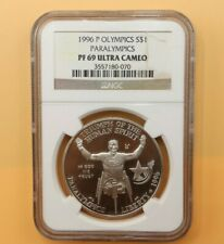 1996-P PARALYMPIC WHEEL CHAIR SILVER DOLLAR COMMEMORATIVE NGC PF69
