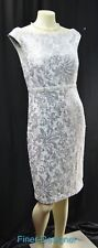 JAX Women's Silver Sequin Sleeveless Fitted Lace Dress Sheath knee 6 $158 NEW