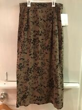 Kathy Lee Collection Ankle Length Brown Black Floral Print Skirt Size 16 NWT