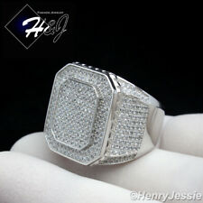 MEN 925 STERLING SILVER ICY DIAMOND BLING RECTANGLE RING*SR60