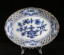 """Antique 12"""" Meissen Blue Onion Reticulated Open Work Gold Gilt Oval Bowl"""