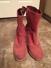Ugg Boots Deep Red Suede High Heel Bianka Sz USA 9 (60)