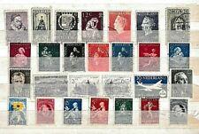 Nederland....album kaart met gebruikte oude klassieke postzegels