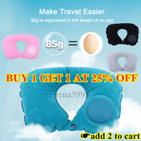 Inflatable Blow Up Neck Head Rest U Shape Pillow Cushion Support Flight Travel A