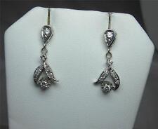 Art Deco Diamond Earrings 14K White Gold Pendant Hollywood Regency