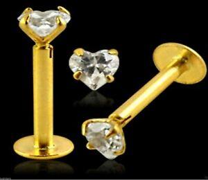 Labret Monroe Bar 14K Carat Genuine Gold 3mm Heart Gem Tragus Lip 16g 10mm