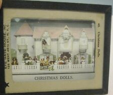 Old Magic Lantern Glass Photograph Slide Christmas Dolls Store Dollhouse Display