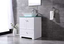 24'' Single White Pvc Bathroom Vanity Cabinet Vessel Sink w/ Mirror Drain Set