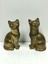 Vintage Pair of Brass Cat Ornaments Figurines