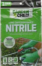 A Long Cuff Disposable Nitrile Gloves by Garden Chem - 2 PAIR PACKAGE (LOT OF 1)