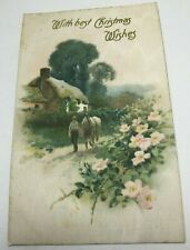 VINTAGE CHRISTMAS POSTCARD SILK CARD, COUNTRY SCENE BOY & HORSE  UNPOSTED