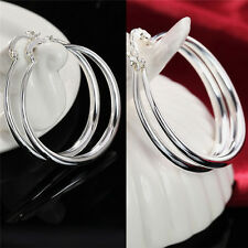 Silver Fashion Jewelry Three-dimensional Round Sterling Silver Hoop Earrings  FR