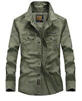 Mens Luxury Military Long Sleeve Casual Cotton Shirt Army Hiking Sunscreen Shirt