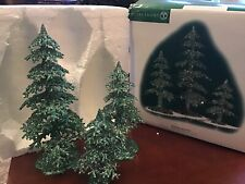 Dept 56-Village Accessories- Acrylic Green Glitter Trees Set of 3 #53032