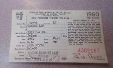 Vtg 1960 Car Registration Toledo Ohio / 1951 Chevy Chevrolet