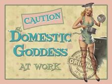 Domestic Goddess at Work, Funny Kitchen, Pin up Girl Home, Small Metal/Tin Sign
