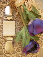 Gypsy Leather Clip~Clothes~Dress~Scarf ~Soft IVORY Pearl /70 Colour+ Magnolia~BN