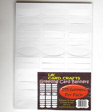 195 BIANCO BIANCO greeting card striscioni -- DIE CUT -- forme diverse. 300gsm