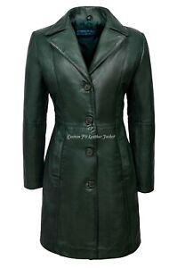 Ladies Real Leather Jacket Green Classic Knee-Length Lambskin Designer Coat 3457