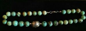 Vintage Natural Turquoise Beads and Thai Silver Bead Necklace