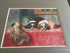 More details for watercolour of king charles spaniels