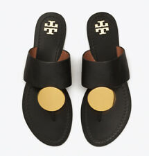 $248 TORY BURCH PATOS DISK FLAT THONG LEATHER SANDALS BLACK/GOLD SZ 7.5