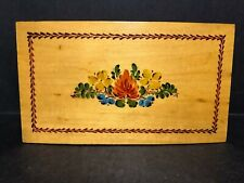 Old Reuge Switzerland Handmade Painted Wood Jewelry Music Box Floral Oh My Papa!