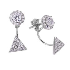Sterling Silver Hanging Triangle Cluster CZ Stones Stud Earrings
