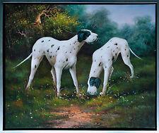Jagdhunde English Pointer vor Bäumen, Ölmalerei  50  x 60 cm signiert Gordon